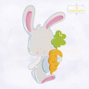 Cute Bunny Holding Carrot Embroidery Design