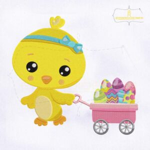 Pulling Wagon Baby Chicken Embroidery Design