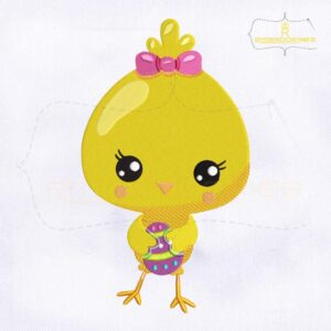 Baby Chick Holding Egg Embroidery Design