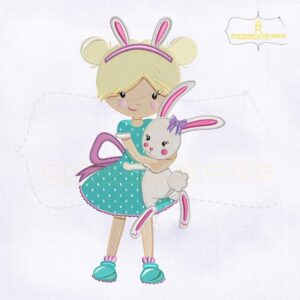 Easter Girl with Miss Bunny Embroidery Design