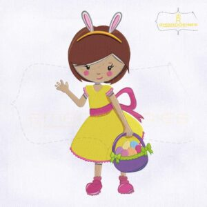 Cute Girl Holding Easter Basket Embroidery Design