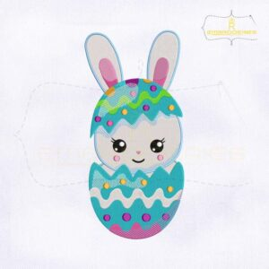 Bunny Hatching from an Egg Embroidery Design