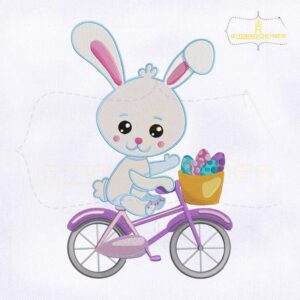 Easter Rabbit Bicycling Embroidery Design
