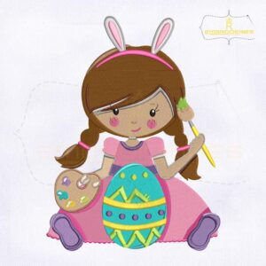 Baby Girl Painting Easter Egg Embroidery Design