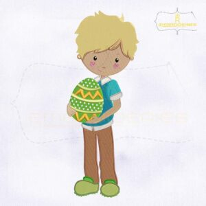 Boy Holding Easter Egg Embroidery Design