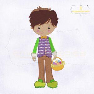 Boy Holding Easter Basket Embroidery Design