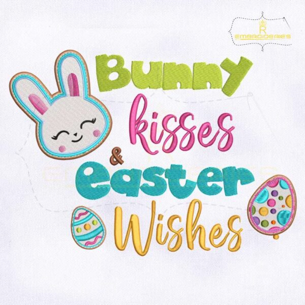 Bunny Kisses and Easter Wishes Embroidery Design