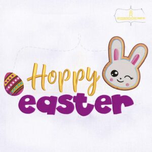 Hoppy Easter Bunny with Egg Embroidery Design