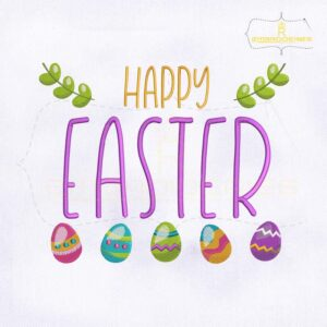 Decorative Happy Easter Eggs Embroidery Design