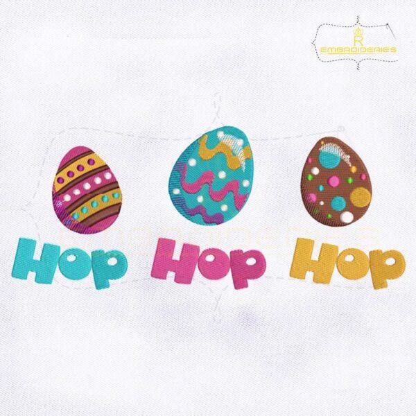 Hop Hop Hop Easter Eggs Embroidery Design