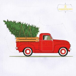 Christmas Tree In Vintage Red Truck Embroidery Design
