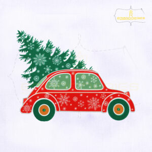 Christmas Tree And Red Car Machine Embroidery Design