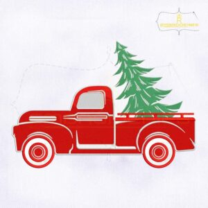 Red Truck And Christmas Tree Embroidery Design