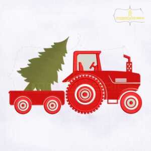 Christmas Tractor Trailer And A Tree Embroidery Design