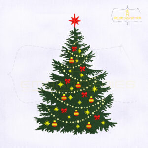 Beautiful Decorative Christmas Tree Machine Embroidery Design
