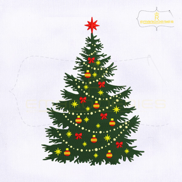 Beautiful Decorative Christmas Tree Machine Embroidery Design