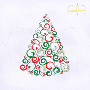 Colorful Swirl Christmas Tree Embroidery Design