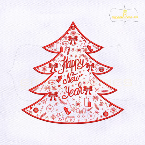 Happy New Year Christmas Decorative Tree Embroidery Design