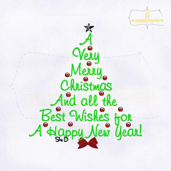 A Very Merry Christmas And All The Best Wishes For A Happy New Year Embroidery Design
