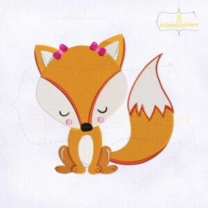 Cute Valentine Fox Embroidery Design
