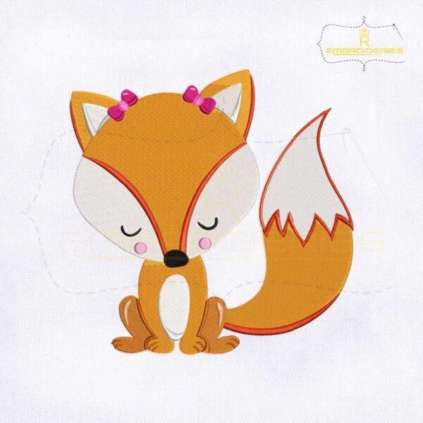 Cute Valentine Fox Embroidery Design