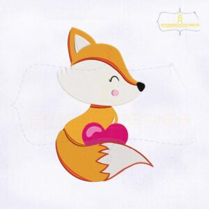 Cute Fox With Heart Machine Embroidery Design