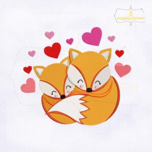 Lovely Valentine Fox Couple Embroidery Design