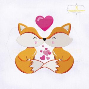 Fox Couple Kissing Embroidery Design