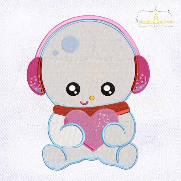 Holding Heart Little Snowman Embroidery Design