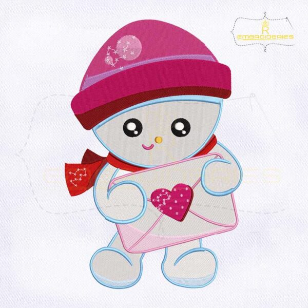 Holding Love Letter Snowman Embroidery Design