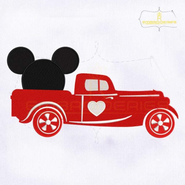 Mickey Valentine's Day Truck Embroidery Design