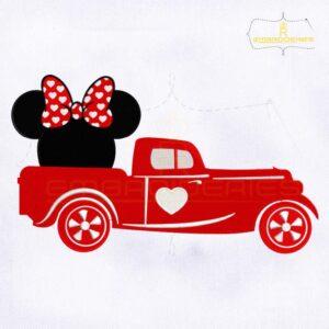 Minnie Valentine's Day Truck Embroidery Design