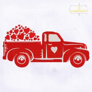Valentine's Day Red Truck Embroidery Design