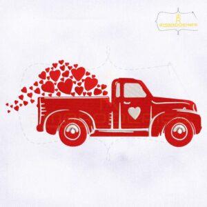 Love Hearts Valentine's Day Truck Embroidery Design