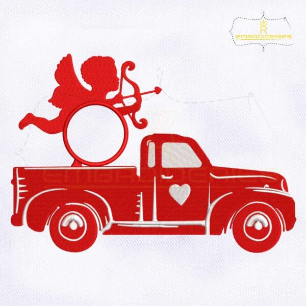 Valentine's Cupid Monogram Truck Embroidery Design