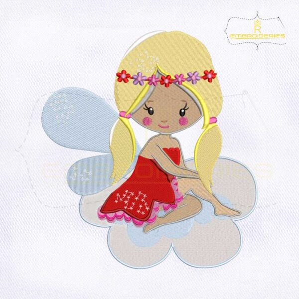 Cute Valentine Princess Fairy Embroidery Design