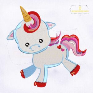Valentine Cute Baby Unicorn Embroidery Design
