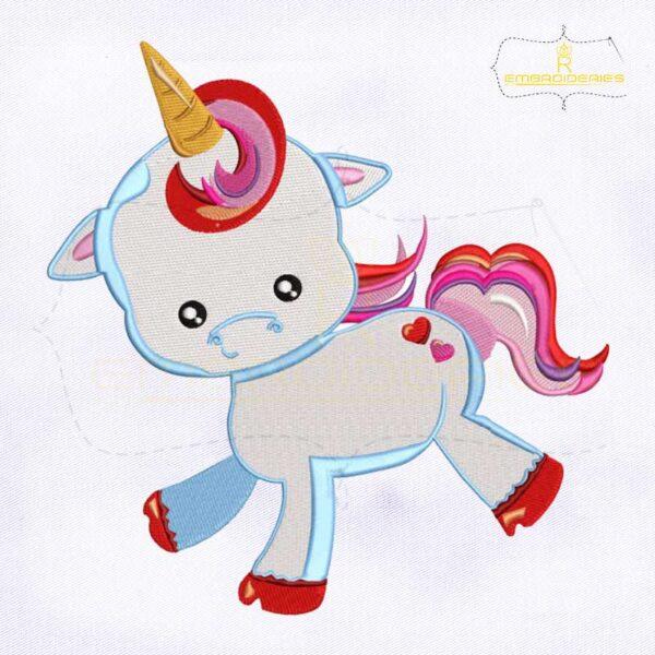 Valentine Cute Baby Unicorn Embroidery Design
