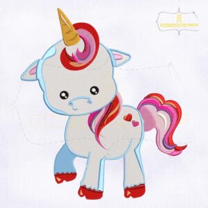 Unicorn Baby Valentine's Day Embroidery Design