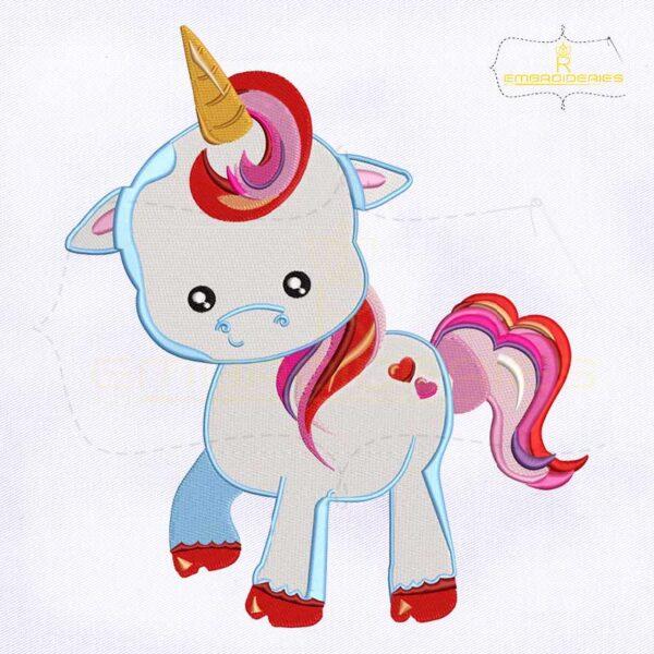 Unicorn Baby Valentine's Day Embroidery Design