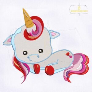 Sitting Baby Unicorn Valentine Embroidery Design