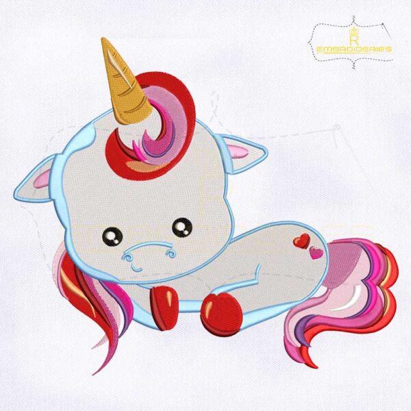 Sitting Baby Unicorn Valentine Embroidery Design