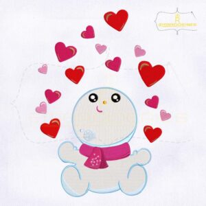 Baby Snowman Love Hearts Embroidery Design