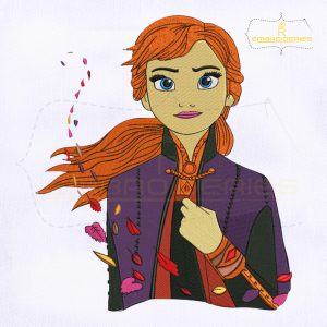 Frozen Anna With Leaf Embroidery Design